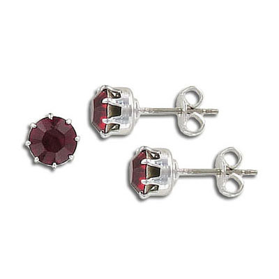 Swarovski titanium earposts, siam color, ss29 size, no loop, rhodium plate