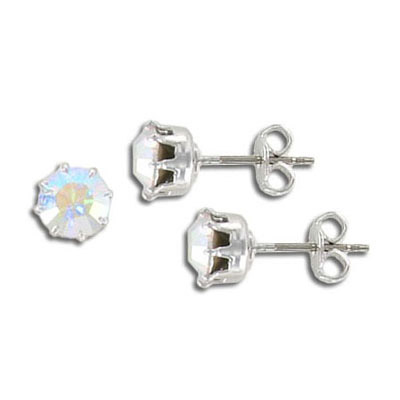 Swarovski titanium earposts, AB crystal color, ss29 size, no loop, rhodium plate