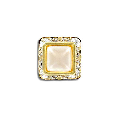 Rondelle, crystal, gold plate, with 8x8mm pearl