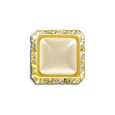 Rondelle, 14x14mm, crystal/gold with pearl