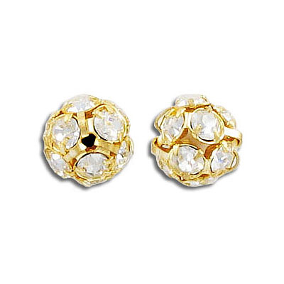 Rhinestone ball, 10mm, crystal, gold plate