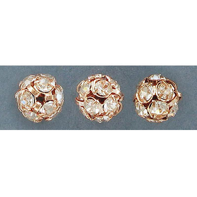 Rhinestone rondelle, 10mm, crystal, rose gold plate