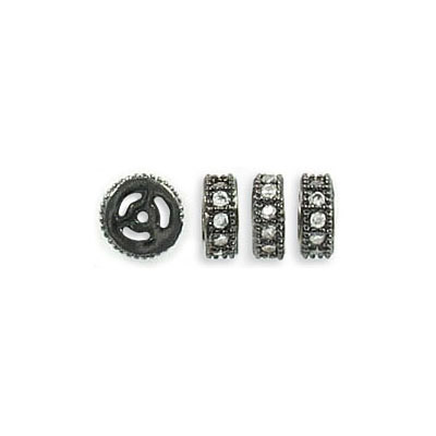 Rhinestone rondelle, 6mm, brass core, hole size approx. 0.90mm, black nickel plate, paved with zircon