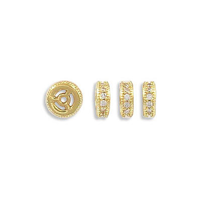 Rhinestone rondelle, 6mm, brass core, approx. hole size 0.90mm, paved with zircon, gold color