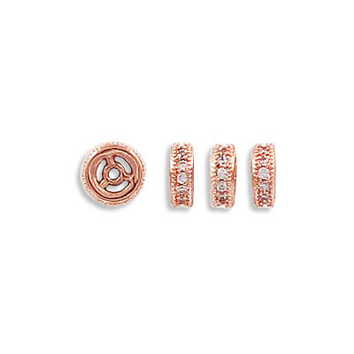 Rhinestone rondelle, 6mm, brass core, approx. hole size 0.90mm, paved with zircon, rose gold color