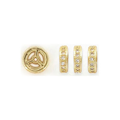 Rhinestone rondelle, 8mm, brass core, paved with zircon, gold color