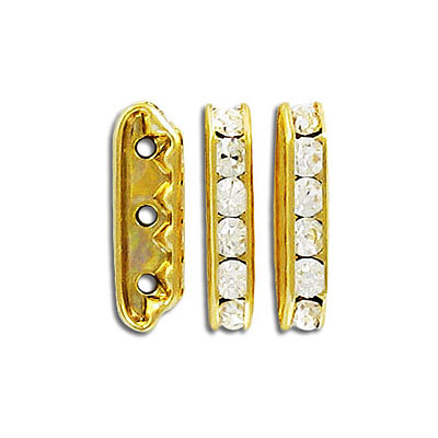Czech rhinestones, rondelle spacer 21x6mm crystal/gold