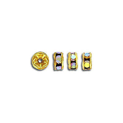 Czech rhinestones, rondelle 4.5mm ab crystal gold