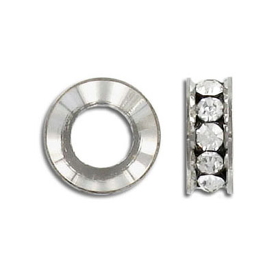 Rhinestone spacer, crystal, rhodium imitation