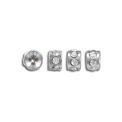 Rhinestone rondelle, 5x3.5mm, inside diameter 1mm, stainless steel, grade 304l