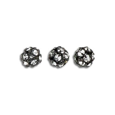 Rhinestone ball, 6mm, crystal, black