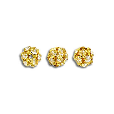Rhinestone ball, 6mm, crystal, gold