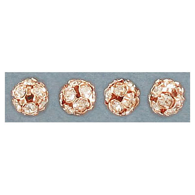 Rhinestone ball, 6mm, crystal, rose gold plate