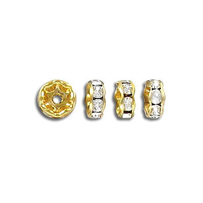 Czech rhinestones, rondelle 6mm crystal/gold