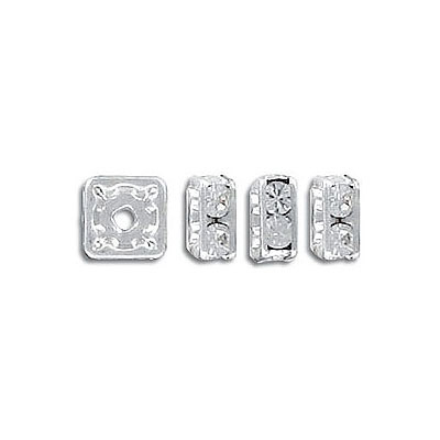 Czech rhinestones, squaredelles 6x6mm crystal/silver