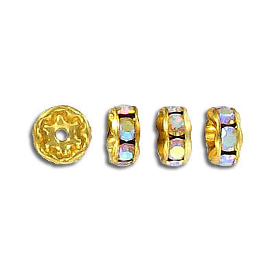 Czech rhinestones, rondelle 7mm ab crystal gold