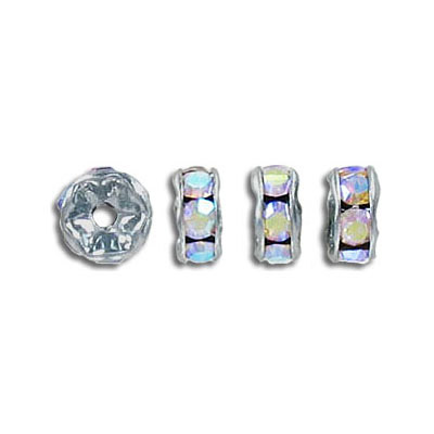 Rhinestone rondelle, 7mm, ab crystal, rhodium imitation