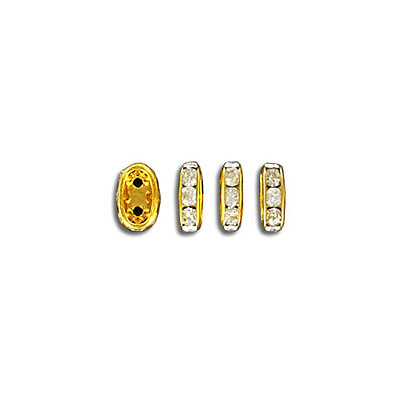Rhinestone rondelle, 7x4mm, 2-hole, approx.hole size 0.80mm, crystal, gold plate