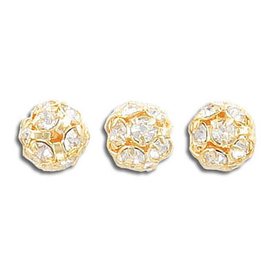 Rhinestone ball, 8mm, approx. hole size 1mm, crystal clear, gold plate