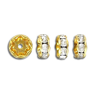Czech rhinestones, rondelle 8mm crystal/gold