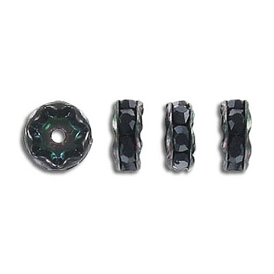 Rhinestone rondelle, 8mm, inside diameter 1.45mm, jet, black finish