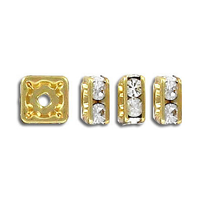 Squaredelle, 8x8mm, crystal/gold