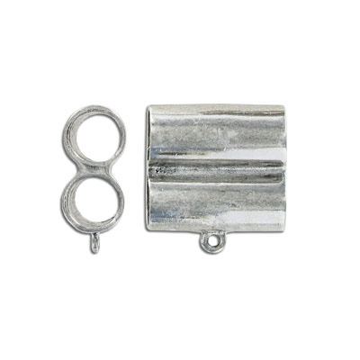 Bail, 2-row, for 10mm cord, antique silver