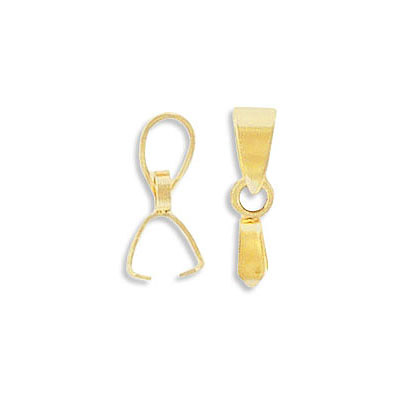 Bail, 13x2mm, grip length 4mm, fits with 10-25mm pendants, stainless steel, rose gold plate