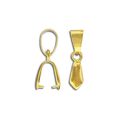 Fancy bail, 5x22mm with loop, grip length 4mm, gold plate. Fits 38-50mm pendants