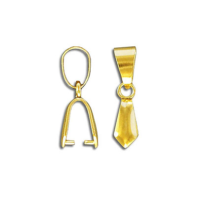 Bail, 22x5mm with loop, grip length 4mm, stainless steel, grade 304l, gold plate, fits 38-50mm pendants