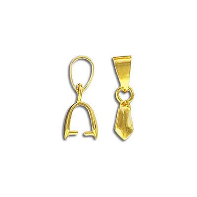 Fancy bail, 4x18mm with loop, grip length 4mm, gold plate. Fits 17-38mm pendants