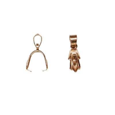 Bail, 19x2mm, stainless steel, rose gold plate