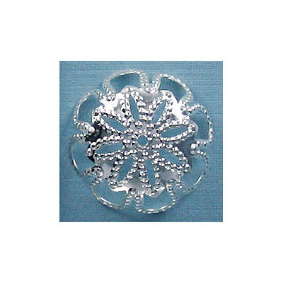 Large bead cap silver plate