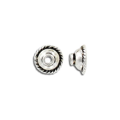 Bead cap, 10-12mm, antique silver