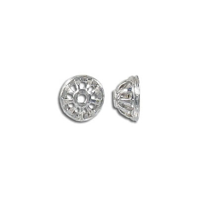 Bead cap, 10mm, rhodium imitation