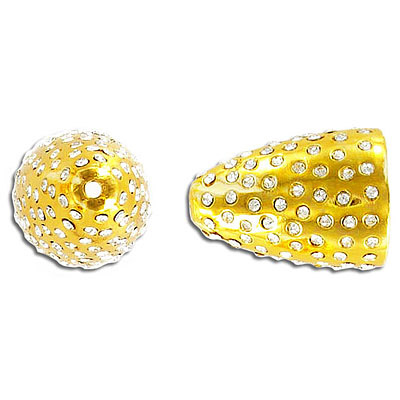 Bead cap, 25x18mm, with crystals, gold plate