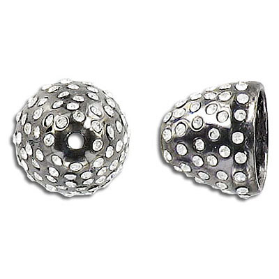 Bead cap, 13x15mm, black nickel plate, with crystals