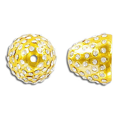 Bead cap, 13x15mm, gold plate, with crystals