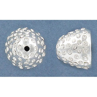 Bead cap, 13x15mm, silver plate, with crystals