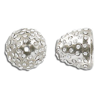 Bead cap, 13x15mm, nickel plate, with crystals