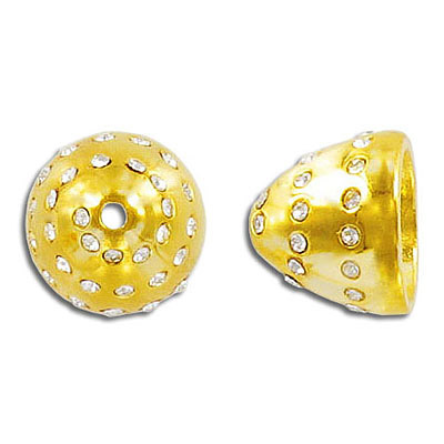 Bead cap, 13x15mm, gold plate, with crystals set in swirl pattern