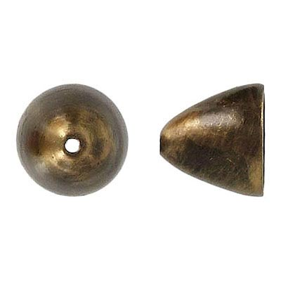 Bead cap large 14x15mm (12mm id) antique brass plate