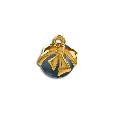 Bead cap, metal bow, for Swarovski pearls 5818, 10mm size (5818/10MM), gold plate