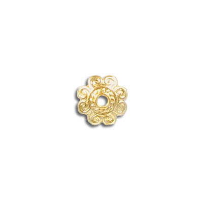 Bead cap, for 10-14mm beads, gold plated