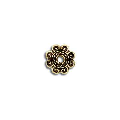 Bead cap, for 10-14mm beads, antique brass
