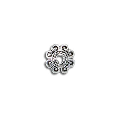 Bead cap, for 10-14mm beads, antique silver