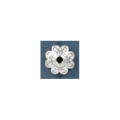 Bead cap, for 10-14mm beads, silver plated