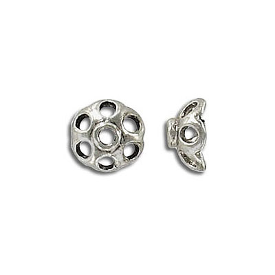 Bead cap, fits 8mm bead, antique silver