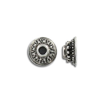 Bead cap, 9mm, pewter, lead safe