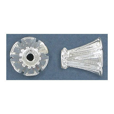 Bead cap, 11.90x10.35mm, inside diameter 2.5-9.50mm, for 10mm beads, silver plate